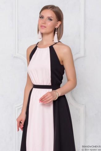 Двухцветное платье длины макси