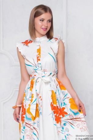 Платье длины миди с рукавами крылышками