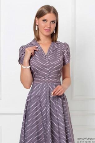 Платье-миди на пуговицах с отложным воротником