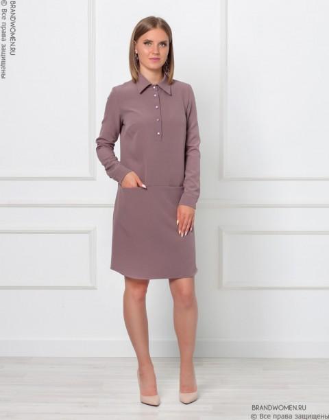 Платье-мини с длинным рукавом и карманами