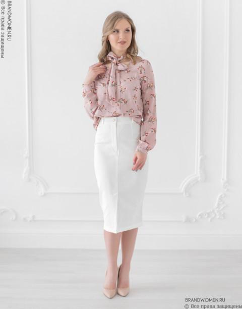 Блуза с бантом и длинными рукавами