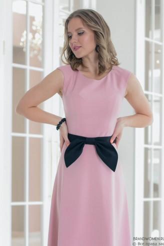 Платье длины макси с поясом без рукавов