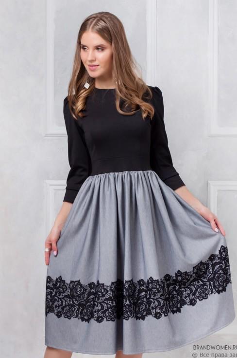 Платье длины миди с имитацией кружева на юбке