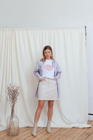 Джинсовая юбка длины мини с карманами