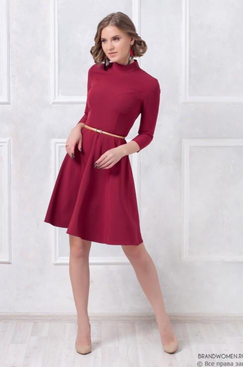 Платье-мини с воротником-стойка