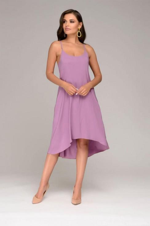 Разноуровневое платье на тонких бретелях