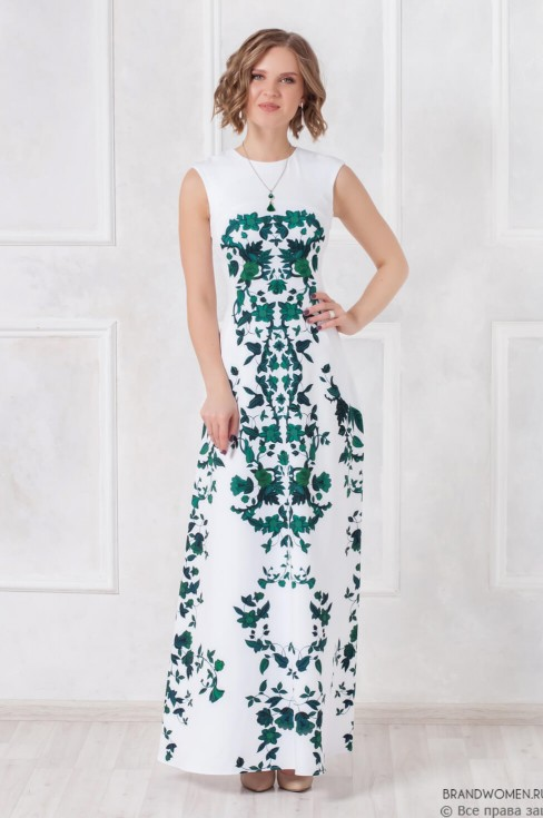 Платье длины макси с орнаментом