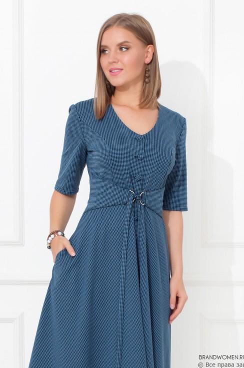 Платье длины миди на пуговицах с поясом