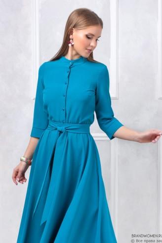 Платье-рубашка в пол с поясом