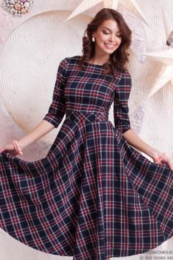 Платье-миди с карманами в клетку