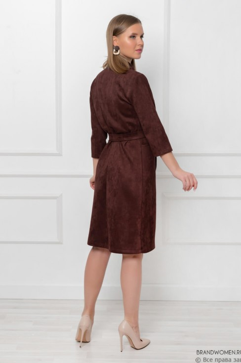 Замшевое платье с карманами и поясом