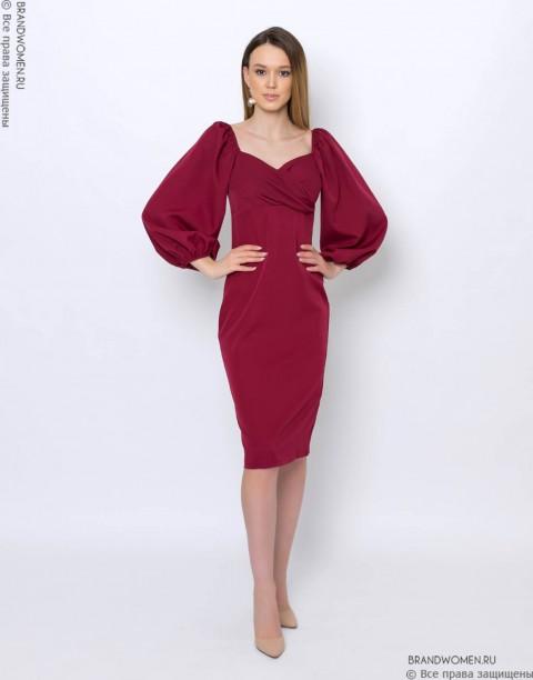 Платье-футляр с пышными рукавами
