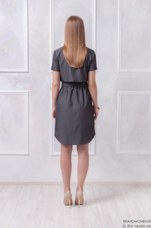 Платье-рубашка длины мини с пуговицами