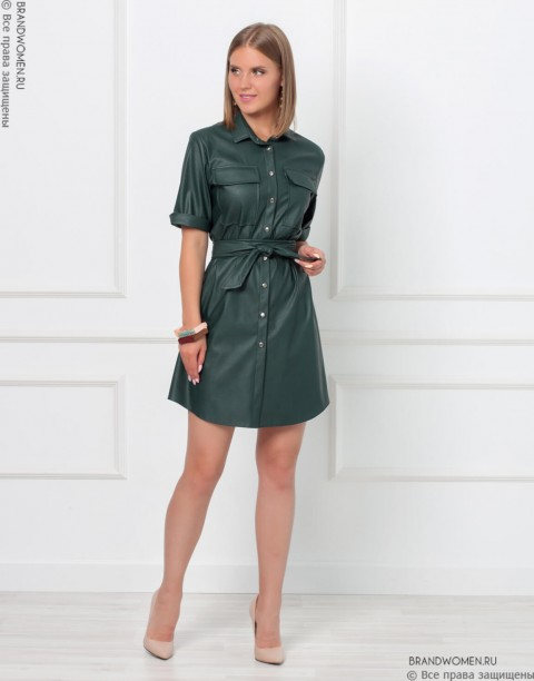 Платье-рубашка длины мини из эко-кожи
