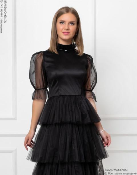Многослойное платье-миди с воротником