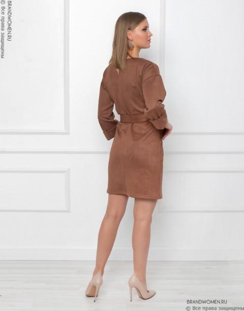 Платье-мини с карманами и поясом