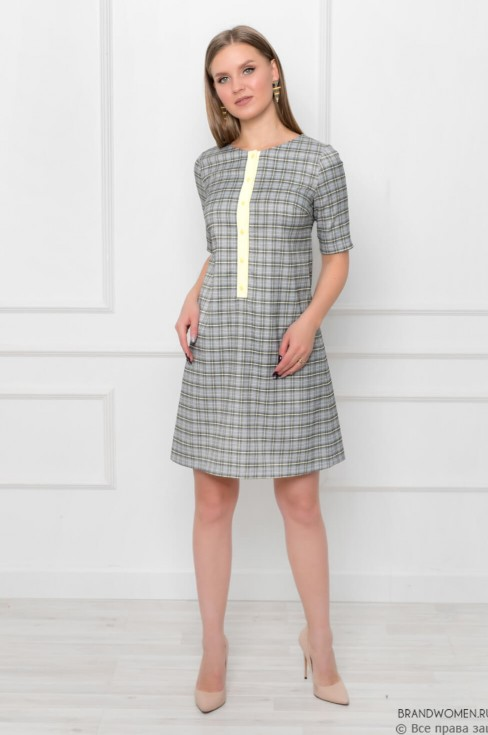 Платье А-силуэта с контрастной планкой