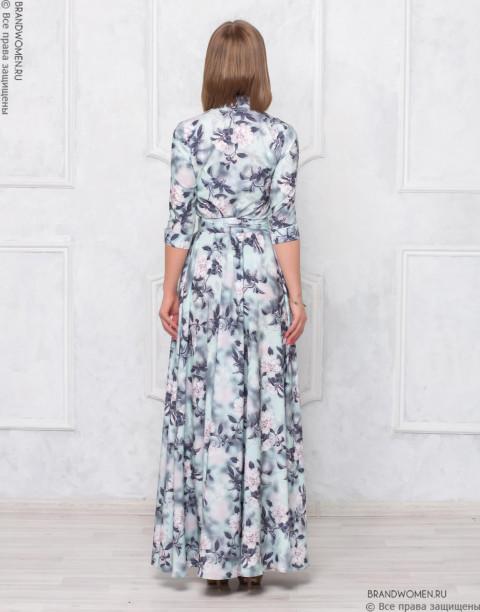 Платье-рубашка длины макси с поясом