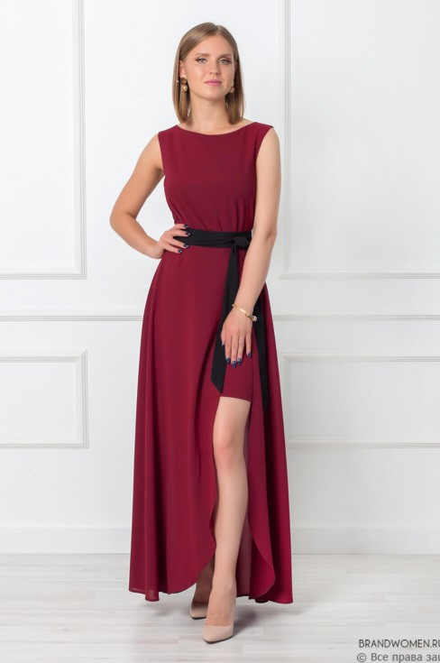 Разноуровневое платье с поясом