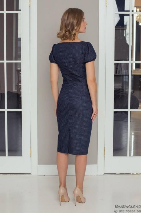 Платье-футляр на пуговицах с короткими рукавами