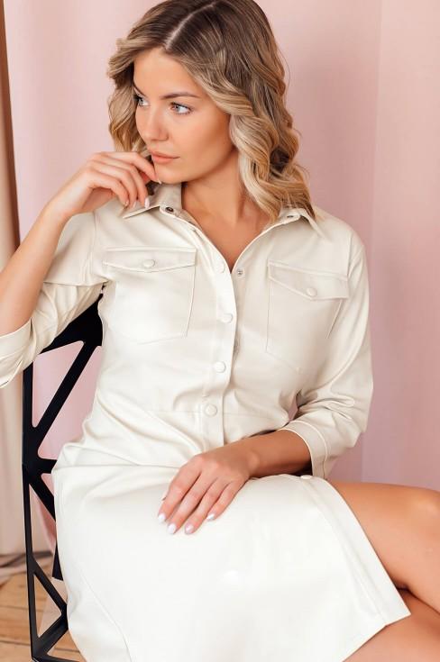 Платье-рубашка длины миди из экокожи