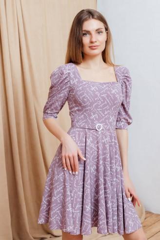 Платье-мини с вырезом каре и рукавами буфами