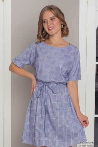 Платье-мини на кулиске с коротким рукавом