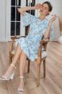 Платье-миди с принтом, рукавами и поясом
