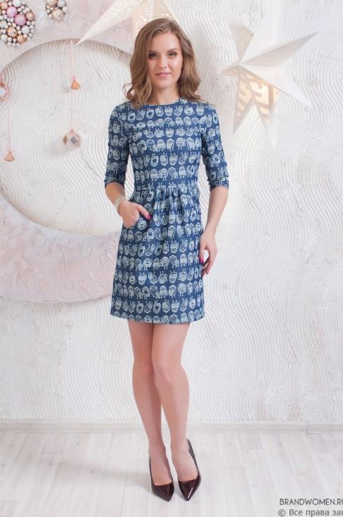 Джинсовое платье-мини с карманами