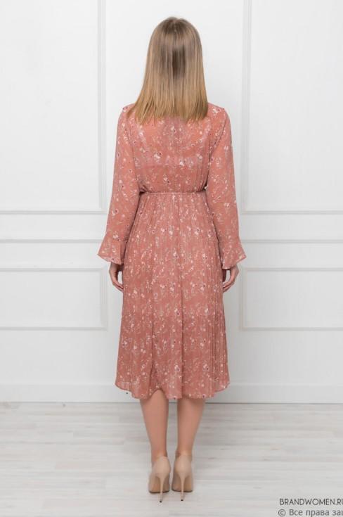 Платье-миди с принтом и рюшами