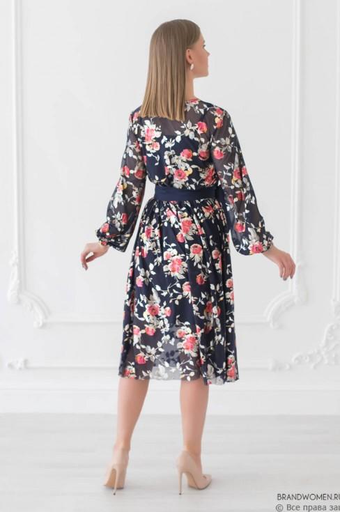 Платье-миди из фатина с цветочным принтом