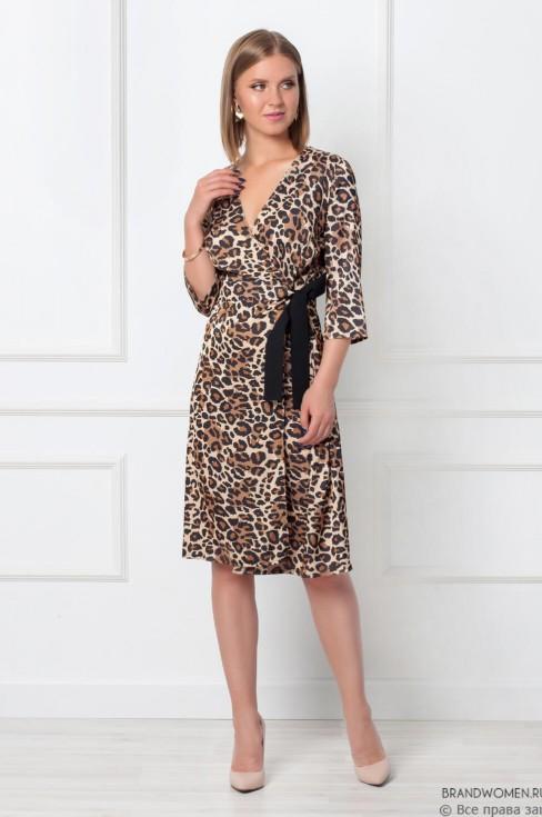 Леопардовое платье на запах