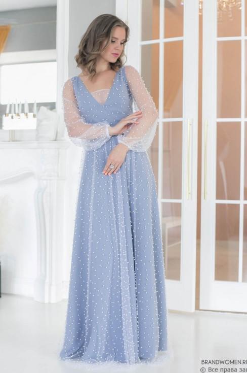 Платье-макси с бусинами и длинным рукавом