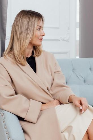 Пальто-халат с карманами и поясом в комплекте