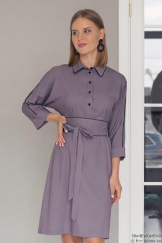 Платье - рубашка длины мини с поясом