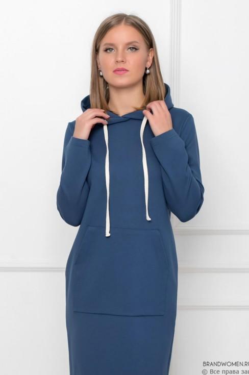 Платье-худи с карманом и капюшоном