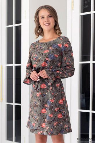 Платье-мини с поясом и воланами на рукавах