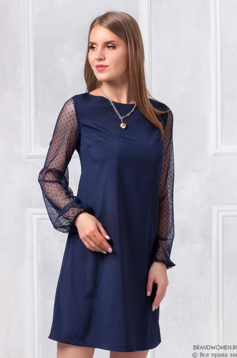 Платье длины мини с фатиновыми рукавами