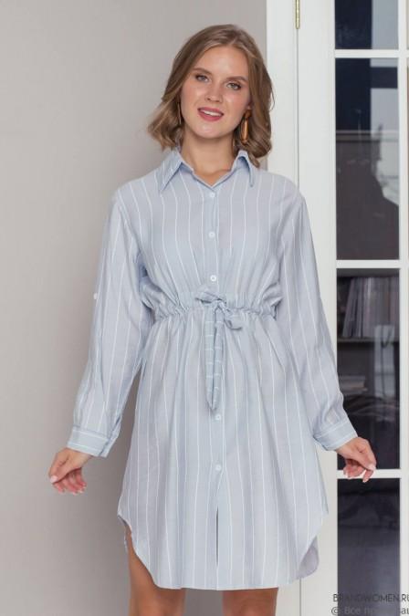 Платье-рубашка в полоску свободного кроя