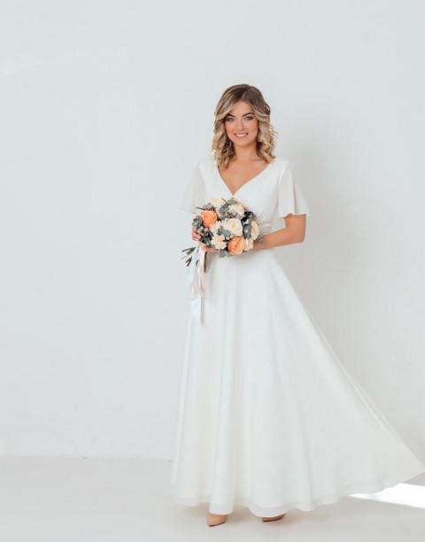 Платье-макси с V-образным вырезом и рукавами