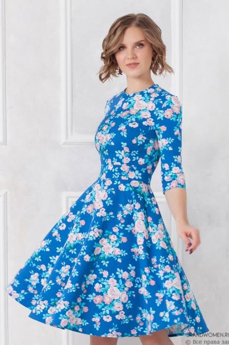 Хлопковое платье-мини с цветочным принтом