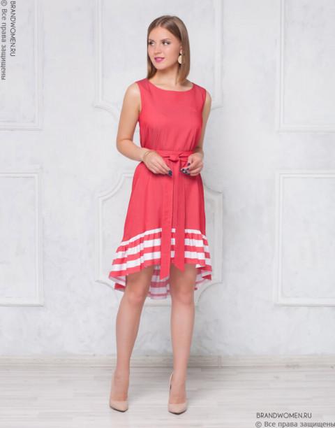 Разноуровневое платье-мини с воланом