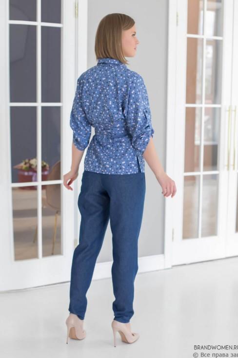 Блуза с принтом, рукавом 3/4 и поясом