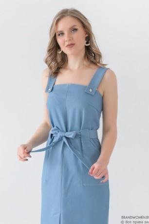 Сарафан длины миди с поясом и карманами