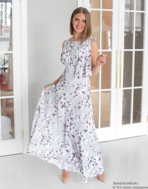 Платье-макси с бантом на плече
