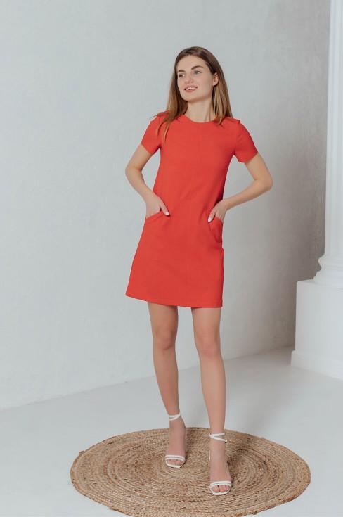 Льняное платье-мини с карманами