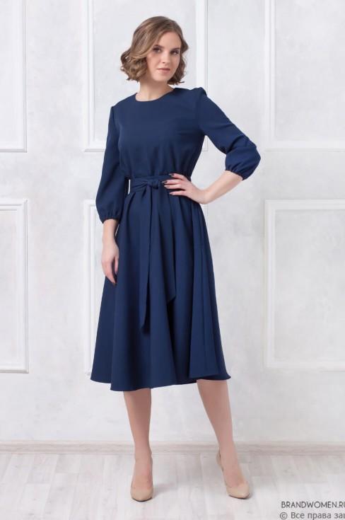 Платье длины миди с поясом и карманами
