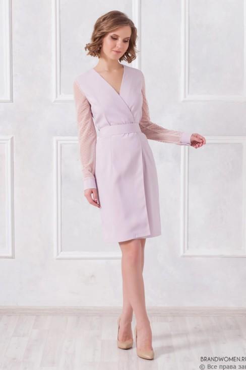 Платье на запах с фатиновыми рукавами