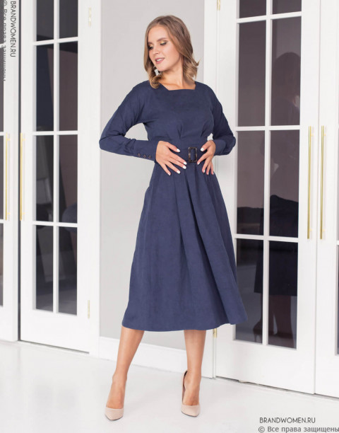 Платье-миди с рукавом летучая мышь и поясом