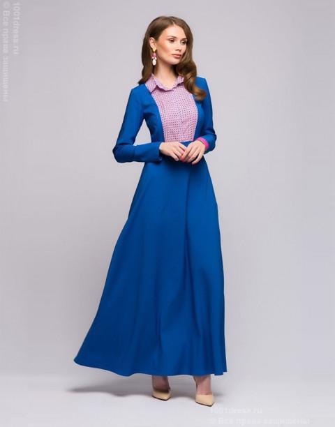 Синее платье-макси с имитацией блузки